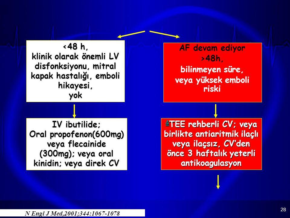 28 AF devam ediyor >48h, bilinmeyen süre, veya yüksek emboli riski & & TEE rehberli CV; veya birlikte antiaritmik ilaçlı veya ilaçsız, CV'den önce 3 h