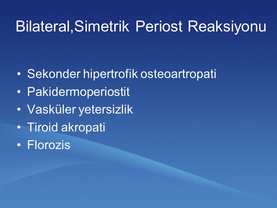 Akut veya subakut artritle seyreden erişkin bir hastada periost reaksiyonu görülmesi akla spondiloartropatiyi getirmelidir.
