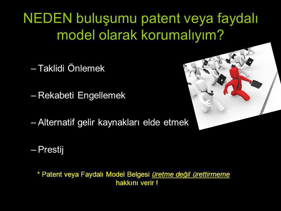 NEDEN buluşumu patent veya faydalı model olarak korumalıyım? –Taklidi Önlemek –Rekabeti Engellemek –Alternatif gelir kaynakları elde etmek –Prestij *