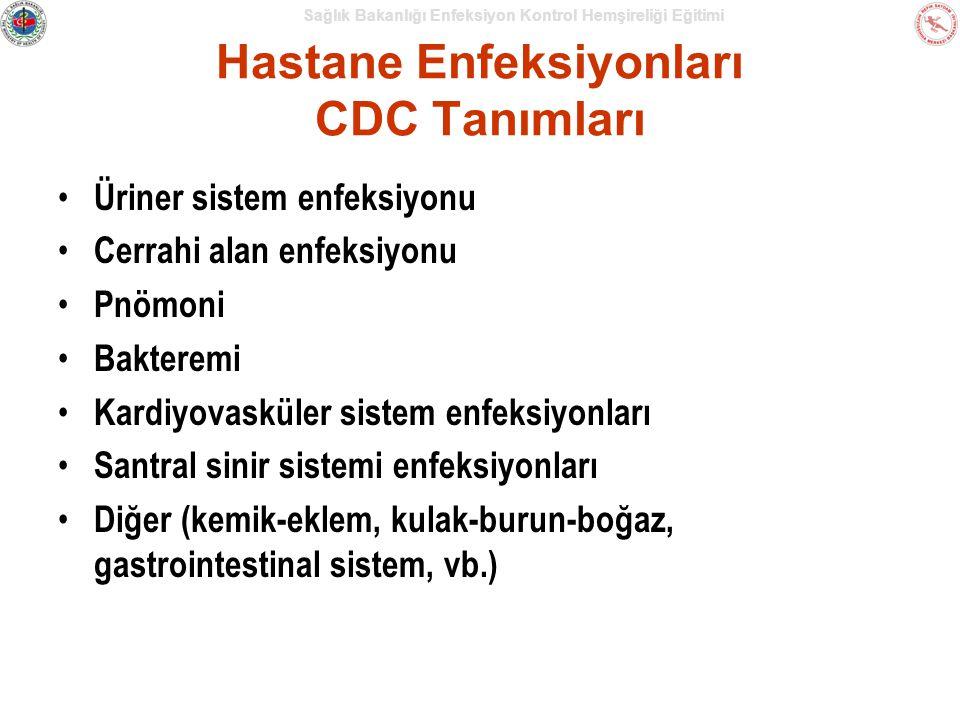 Sağlık Bakanlığı Enfeksiyon Kontrol Hemşireliği Eğitimi Hastane Enfeksiyonları CDC Tanımları Üriner sistem enfeksiyonu Cerrahi alan enfeksiyonu Pnömoni Bakteremi Kardiyovasküler sistem enfeksiyonları Santral sinir sistemi enfeksiyonları Diğer (kemik-eklem, kulak-burun-boğaz, gastrointestinal sistem, vb.)