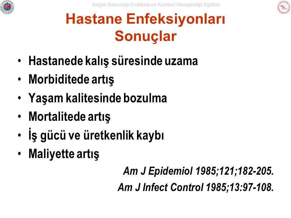 Sağlık Bakanlığı Enfeksiyon Kontrol Hemşireliği Eğitimi Hastane Enfeksiyonları Sonuçlar Hastanede kalış süresinde uzama Morbiditede artış Yaşam kalitesinde bozulma Mortalitede artış İş gücü ve üretkenlik kaybı Maliyette artış Am J Epidemiol 1985;121;182-205.