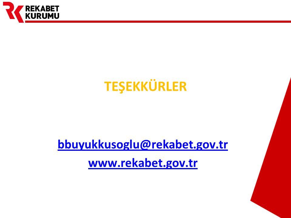 TEŞEKKÜRLER bbuyukkusoglu@rekabet.gov.tr www.rekabet.gov.tr