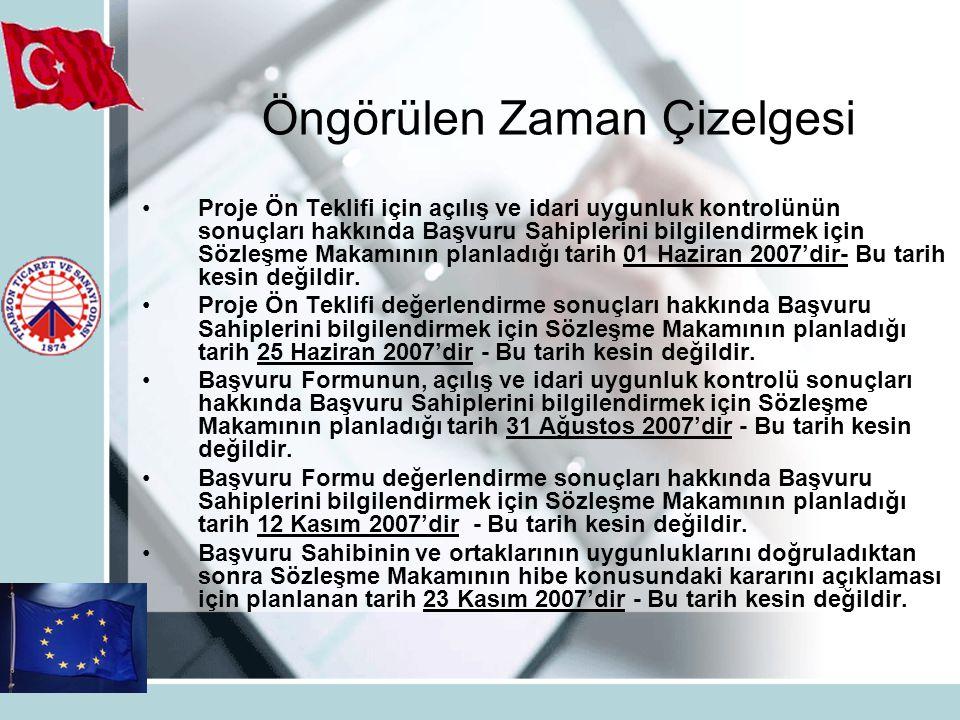Proje Ön Teklifi için açılış ve idari uygunluk kontrolünün sonuçları hakkında Başvuru Sahiplerini bilgilendirmek için Sözleşme Makamının planladığı tarih 01 Haziran 2007'dir- Bu tarih kesin değildir.