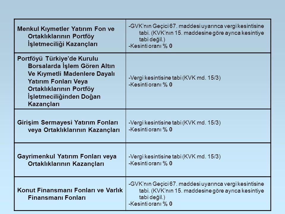 Menkul Kıymetler Yatırım Fon ve Ortaklıklarının Portföy İşletmeciliği Kazançları -GVK'nın Geçici 67. maddesi uyarınca vergi kesintisine tabi. (KVK'nın