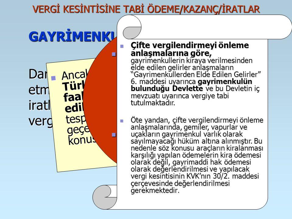 VERGİ KESİNTİSİNE TABİ ÖDEME/KAZANÇ/İRATLAR GAYRİMENKUL SERMAYE İRATLARI Dar mükellef kurumların Türkiye'de elde etmiş oldukları gayrimenkul sermaye i