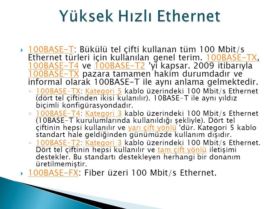  100BASE-T: Bükülü tel çifti kullanan tüm 100 Mbit/s Ethernet türleri için kullanılan genel terim. 100BASE-TX, 100BASE-T4 ve 100BASE-T2 'yi kapsar. 2