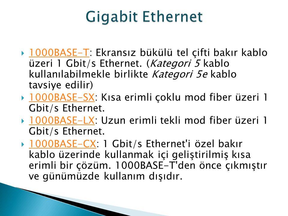  1000BASE-T: Ekransız bükülü tel çifti bakır kablo üzeri 1 Gbit/s Ethernet. (Kategori 5 kablo kullanılabilmekle birlikte Kategori 5e kablo tavsiye ed