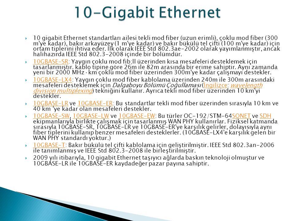  10 gigabit Ethernet standartları ailesi tekli mod fiber (uzun erimli), çoklu mod fiber (300 m'ye kadar), bakır arkayüzey (1 m'ye kadar) ve bakır bük