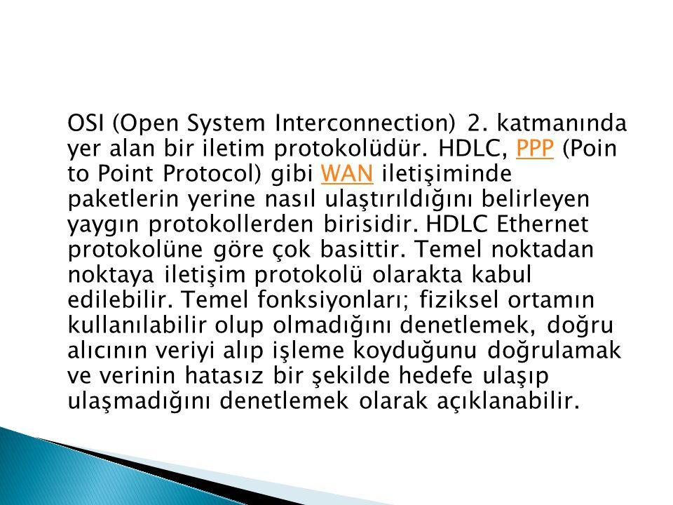 OSI (Open System Interconnection) 2. katmanında yer alan bir iletim protokolüdür. HDLC, PPP (Poin to Point Protocol) gibi WAN iletişiminde paketlerin
