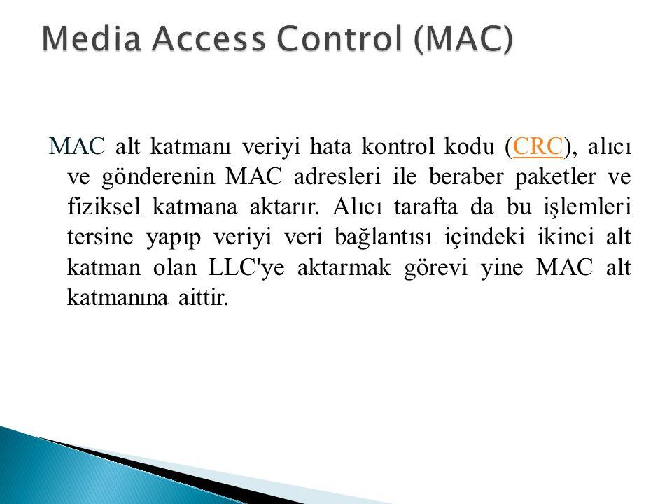 MAC alt katmanı veriyi hata kontrol kodu (CRC), alıcı ve gönderenin MAC adresleri ile beraber paketler ve fiziksel katmana aktarır. Alıcı tarafta da b