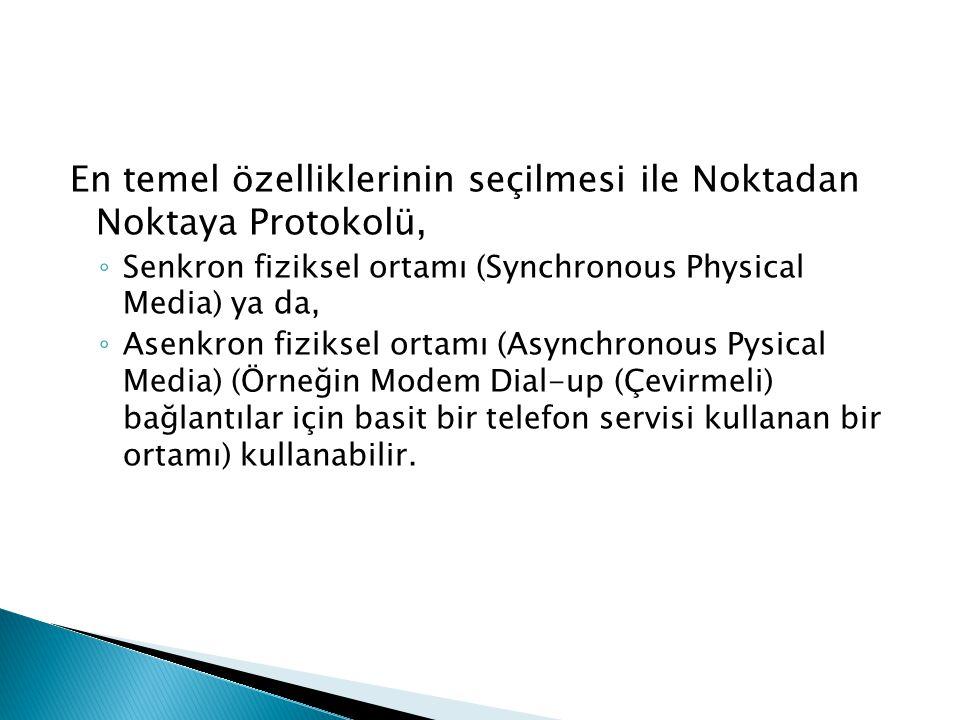 En temel özelliklerinin seçilmesi ile Noktadan Noktaya Protokolü, ◦ Senkron fiziksel ortamı (Synchronous Physical Media) ya da, ◦ Asenkron fiziksel or