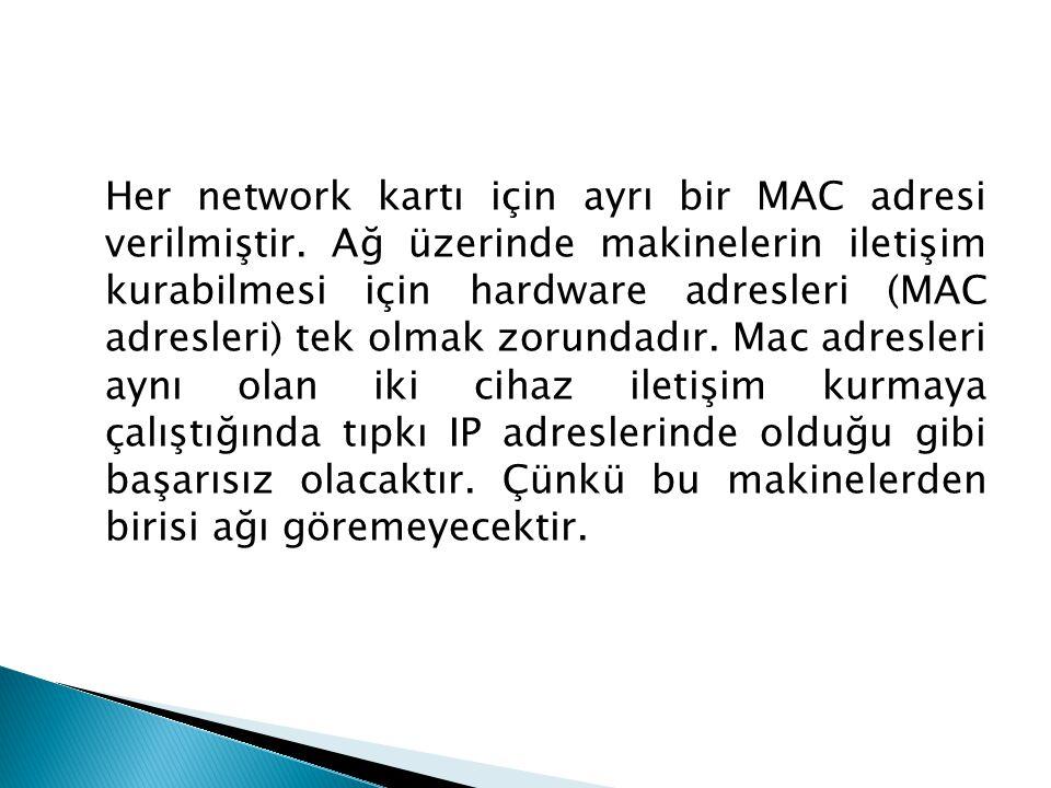 Her network kartı için ayrı bir MAC adresi verilmiştir. Ağ üzerinde makinelerin iletişim kurabilmesi için hardware adresleri (MAC adresleri) tek olmak