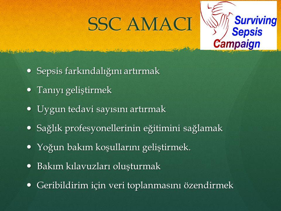 SSC AMACI Sepsis farkındalığını artırmak Sepsis farkındalığını artırmak Tanıyı geliştirmek Tanıyı geliştirmek Uygun tedavi sayısını artırmak Uygun ted
