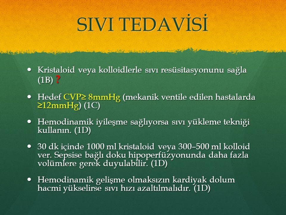 SIVI TEDAVİSİ Kristaloid veya kolloidlerle sıvı resüsitasyonunu sağla (1B) ? Kristaloid veya kolloidlerle sıvı resüsitasyonunu sağla (1B) ? Hedef CVP≥