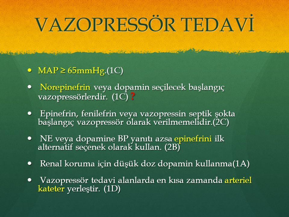 VAZOPRESSÖR TEDAVİ MAP ≥ 65mmHg.(1C) MAP ≥ 65mmHg.(1C) Norepinefrin veya dopamin seçilecek başlangıç vazopressörlerdir. (1C) ? Norepinefrin veya dopam