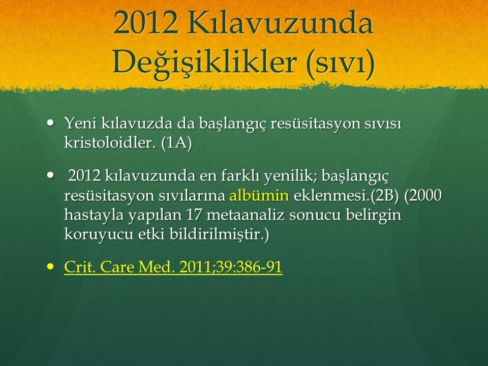 2012 Kılavuzunda Değişiklikler (sıvı) Yeni kılavuzda da başlangıç resüsitasyon sıvısı kristoloidler. (1A) Yeni kılavuzda da başlangıç resüsitasyon sıv