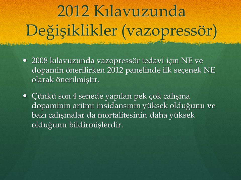 2012 Kılavuzunda Değişiklikler (vazopressör) 2008 kılavuzunda vazopressör tedavi için NE ve dopamin önerilirken 2012 panelinde ilk seçenek NE olarak ö
