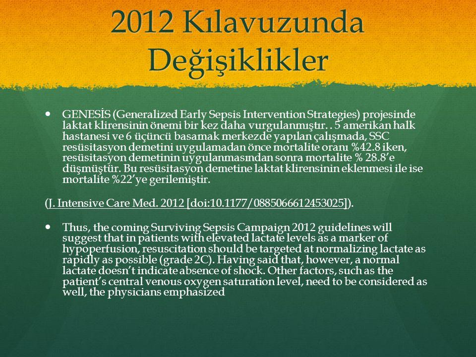 2012 Kılavuzunda Değişiklikler GENESİS (Generalized Early Sepsis Intervention Strategies) projesinde laktat klirensinin önemi bir kez daha vurgulanmış
