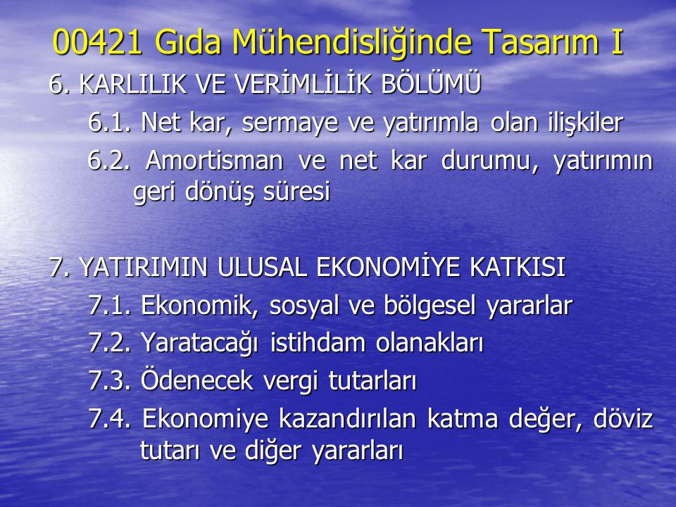 00421 Gıda Mühendisliğinde Tasarım I 6. KARLILIK VE VERİMLİLİK BÖLÜMÜ 6.1. Net kar, sermaye ve yatırımla olan ilişkiler 6.2. Amortisman ve net kar dur