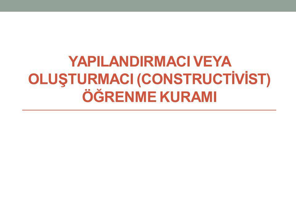 YAPILANDIRMACI VEYA OLUŞTURMACI (CONSTRUCTİVİST) ÖĞRENME KURAMI