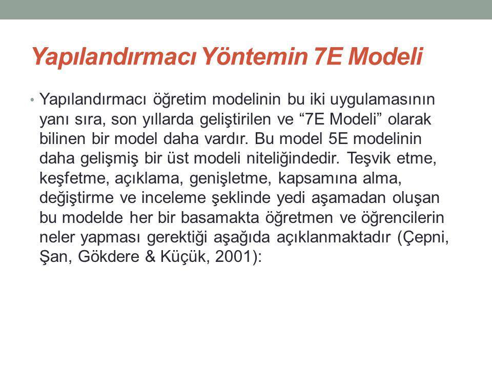 Yapılandırmacı Yöntemin 7E Modeli Yapılandırmacı öğretim modelinin bu iki uygulamasının yanı sıra, son yıllarda geliştirilen ve 7E Modeli olarak bilinen bir model daha vardır.