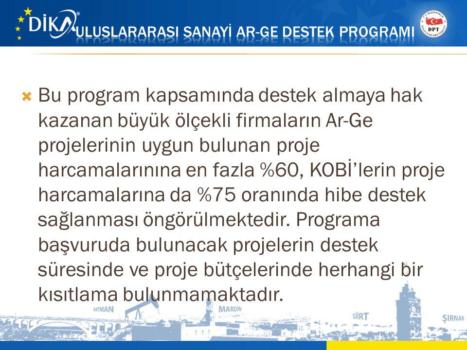  Bu program kapsamında destek almaya hak kazanan büyük ölçekli firmaların Ar-Ge projelerinin uygun bulunan proje harcamalarınına en fazla %60, KOBİ'l