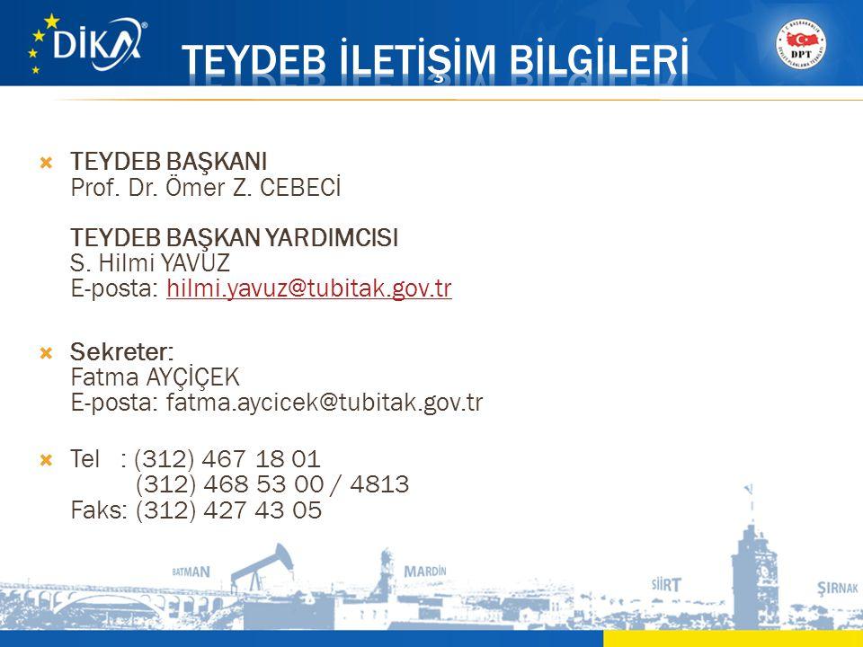  TEYDEB BAŞKANI Prof. Dr. Ömer Z. CEBECİ TEYDEB BAŞKAN YARDIMCISI S. Hilmi YAVUZ E-posta: hilmi.yavuz@tubitak.gov.trhilmi.yavuz@tubitak.gov.tr  Sekr