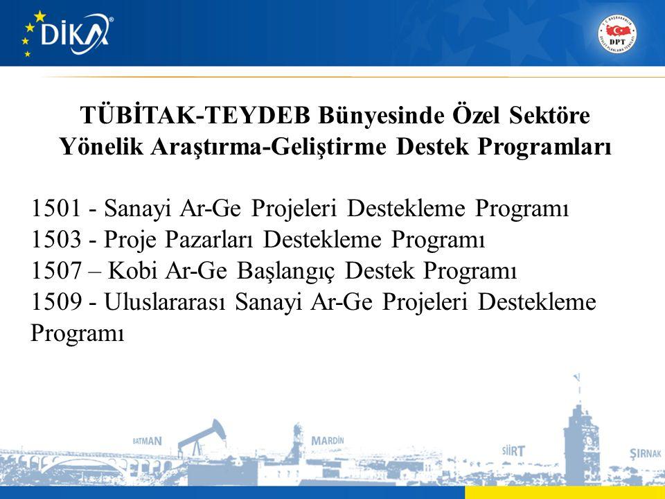 TÜBİTAK-TEYDEB Bünyesinde Özel Sektöre Yönelik Araştırma-Geliştirme Destek Programları 1501 - Sanayi Ar-Ge Projeleri Destekleme Programı 1503 - Proje