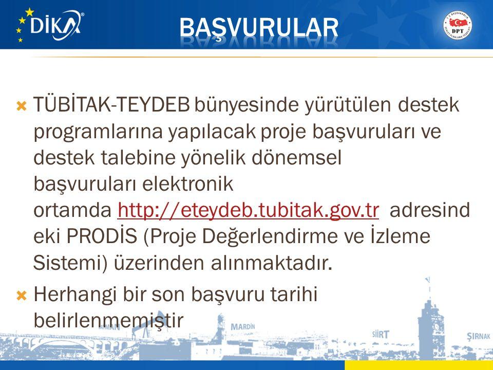  TÜBİTAK-TEYDEB bünyesinde yürütülen destek programlarına yapılacak proje başvuruları ve destek talebine yönelik dönemsel başvuruları elektronik orta