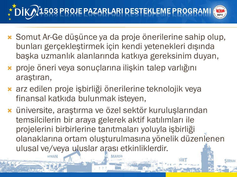  Somut Ar-Ge düşünce ya da proje önerilerine sahip olup, bunları gerçekleştirmek için kendi yetenekleri dışında başka uzmanlık alanlarında katkıya ge