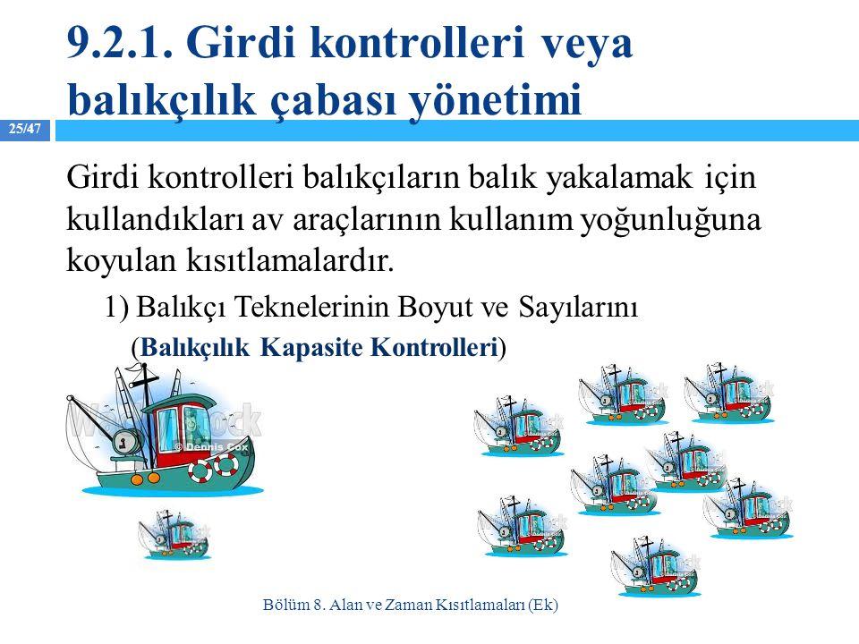 25/47 Girdi kontrolleri balıkçıların balık yakalamak için kullandıkları av araçlarının kullanım yoğunluğuna koyulan kısıtlamalardır. 1) Balıkçı Teknel
