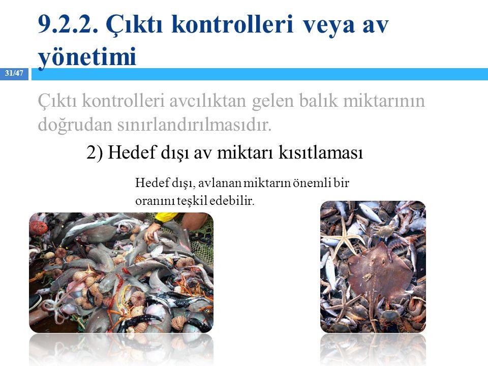 31/47 Çıktı kontrolleri avcılıktan gelen balık miktarının doğrudan sınırlandırılmasıdır. 2) Hedef dışı av miktarı kısıtlaması Hedef dışı, avlanan mikt