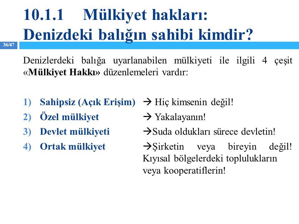 36/47 10.1.1Mülkiyet hakları: Denizdeki balığın sahibi kimdir? Denizlerdeki balığa uyarlanabilen mülkiyeti ile ilgili 4 çeşit «Mülkiyet Hakkı» düzenle