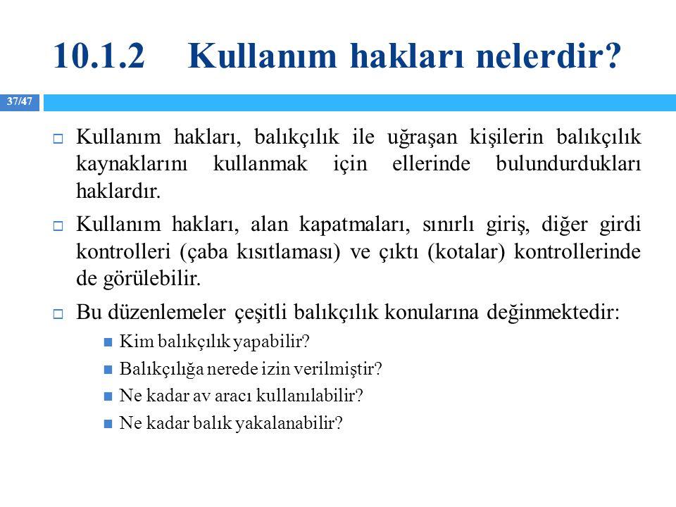 37/47 10.1.2Kullanım hakları nelerdir?  Kullanım hakları, balıkçılık ile uğraşan kişilerin balıkçılık kaynaklarını kullanmak için ellerinde bulundurd