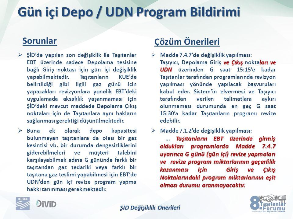Gün içi Depo / UDN Program Bildirimi  ŞİD'de yapılan son değişiklik ile Taşıtanlar EBT üzerinde sadece Depolama tesisine bağlı Giriş noktası için gün içi değişiklik yapabilmektedir.