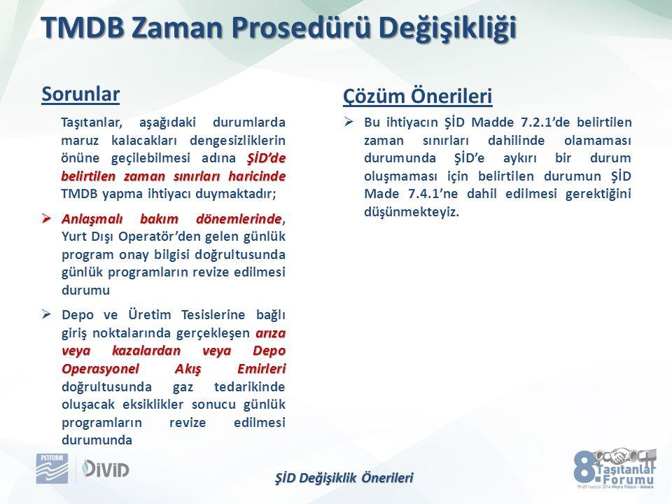 TMDB Zaman Prosedürü Değişikliği ŞİD'de belirtilen zaman sınırları haricinde Taşıtanlar, aşağıdaki durumlarda maruz kalacakları dengesizliklerin önüne geçilebilmesi adına ŞİD'de belirtilen zaman sınırları haricinde TMDB yapma ihtiyacı duymaktadır;  Anlaşmalı bakım dönemlerinde  Anlaşmalı bakım dönemlerinde, Yurt Dışı Operatör'den gelen günlük program onay bilgisi doğrultusunda günlük programların revize edilmesi durumu arıza veya kazalardan veya Depo Operasyonel Akış Emirleri  Depo ve Üretim Tesislerine bağlı giriş noktalarında gerçekleşen arıza veya kazalardan veya Depo Operasyonel Akış Emirleri doğrultusunda gaz tedarikinde oluşacak eksiklikler sonucu günlük programların revize edilmesi durumunda  Bu ihtiyacın ŞİD Madde 7.2.1'de belirtilen zaman sınırları dahilinde olamaması durumunda ŞİD'e aykırı bir durum oluşmaması için belirtilen durumun ŞİD Made 7.4.1'ne dahil edilmesi gerektiğini düşünmekteyiz.