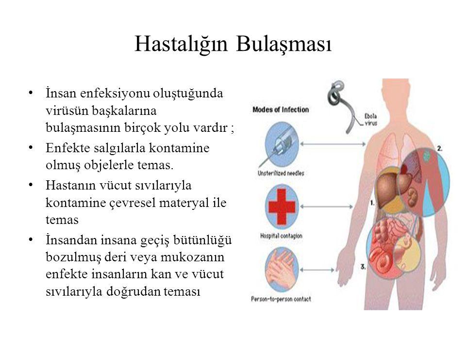 Hastalığın Bulaşması İnsan enfeksiyonu oluştuğunda virüsün başkalarına bulaşmasının birçok yolu vardır ; Enfekte salgılarla kontamine olmuş objelerle