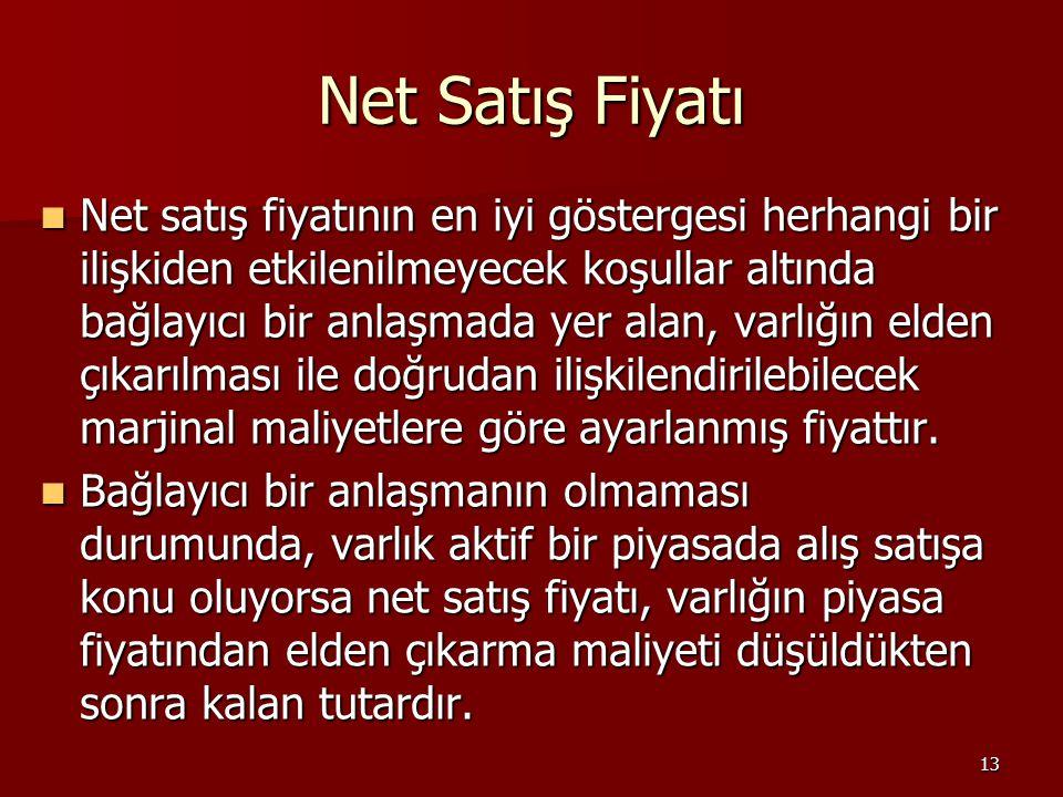 13 Net Satış Fiyatı Net satış fiyatının en iyi göstergesi herhangi bir ilişkiden etkilenilmeyecek koşullar altında bağlayıcı bir anlaşmada yer alan, v