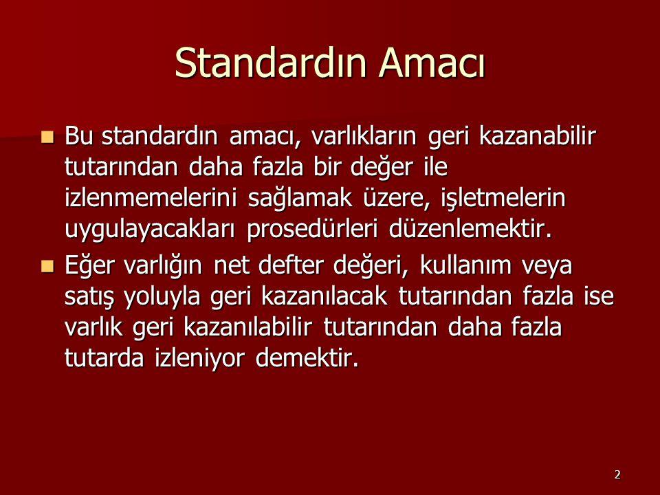 2 Standardın Amacı Bu standardın amacı, varlıkların geri kazanabilir tutarından daha fazla bir değer ile izlenmemelerini sağlamak üzere, işletmelerin