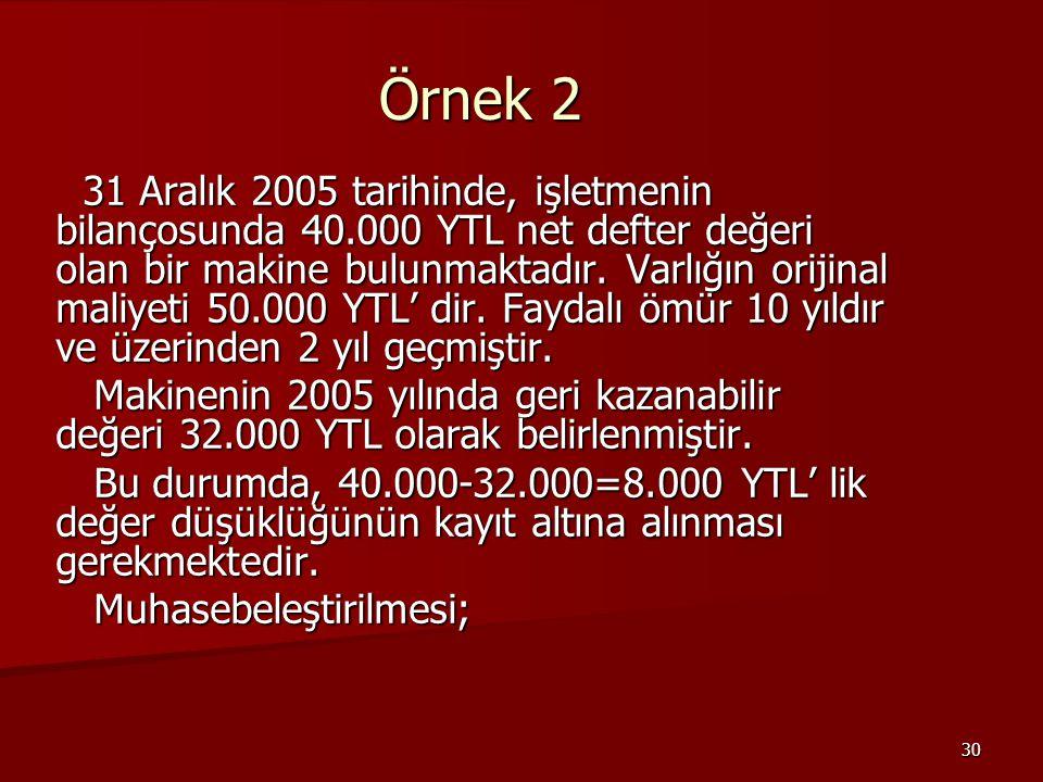 30 Örnek 2 31 Aralık 2005 tarihinde, işletmenin bilançosunda 40.000 YTL net defter değeri olan bir makine bulunmaktadır. Varlığın orijinal maliyeti 50