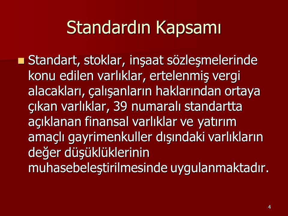 4 Standardın Kapsamı Standart, stoklar, inşaat sözleşmelerinde konu edilen varlıklar, ertelenmiş vergi alacakları, çalışanların haklarından ortaya çık