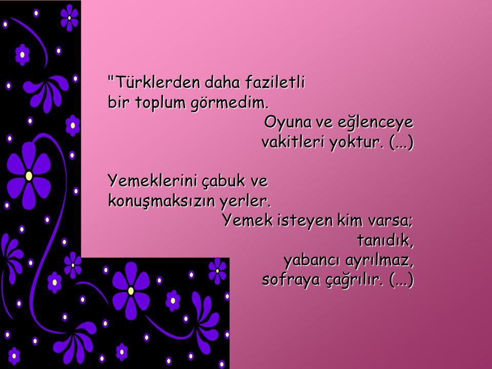 Türklerden daha faziletli bir toplum görmedim.Oyuna ve eğlenceye vakitleri yoktur.