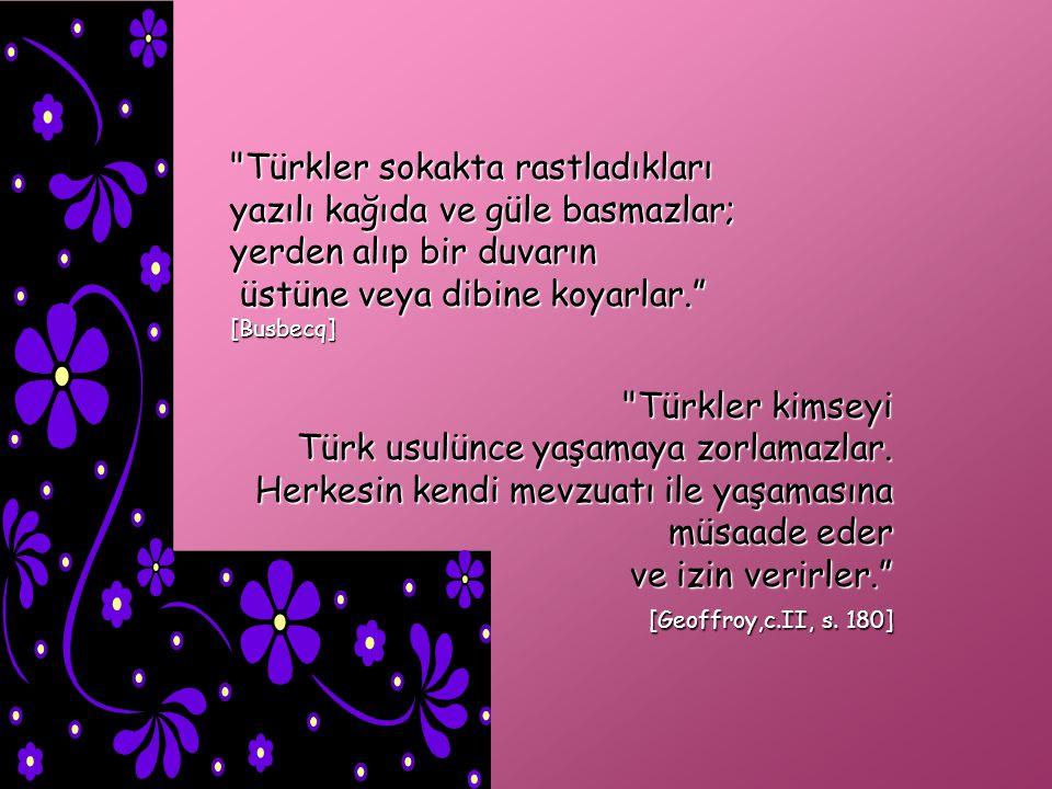 Türkler iyi niyetli insanlardır. Birbirlerine bağlıdırlar.