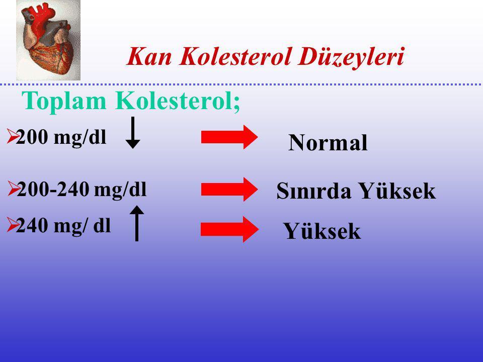  Türk toplumunda HDL –Kolesterol değeri düşük bulunmuştur.  Sigara içme-Şişmanlık ;HDL-Kolesterolü düşürür  Düzenli egzersiz ;HDL-Kolesterolü yükse