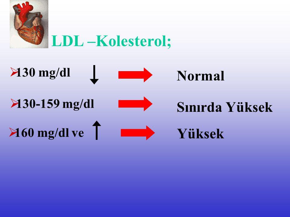 Kan Kolesterol Düzeyleri  200 mg/dl Toplam Kolesterol; Normal Yüksek  200-240 mg/dl Sınırda Yüksek  240 mg/ dl