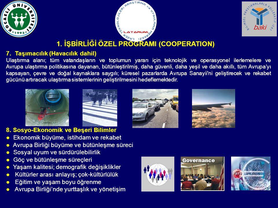 7. Taşımacılık (Havacılık dahil) Ulaştırma alanı; tüm vatandaşların ve toplumun yararı için teknolojik ve operasyonel ilerlemelere ve Avrupa ulaştırma