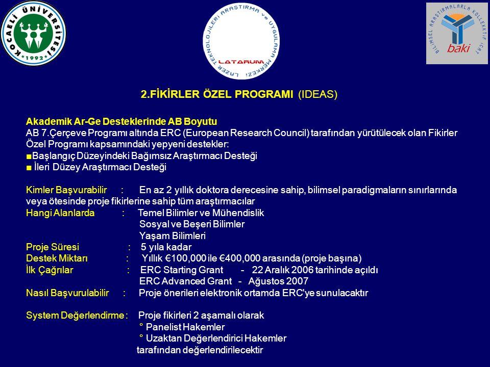 Akademik Ar-Ge Desteklerinde AB Boyutu AB 7.Çerçeve Programı altında ERC (European Research Council) tarafından yürütülecek olan Fikirler Özel Program