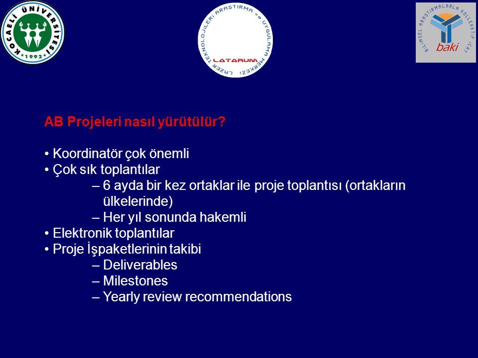 AB Projeleri nasıl yürütülür? Koordinatör çok önemli Çok sık toplantılar – 6 ayda bir kez ortaklar ile proje toplantısı (ortakların ülkelerinde) – Her