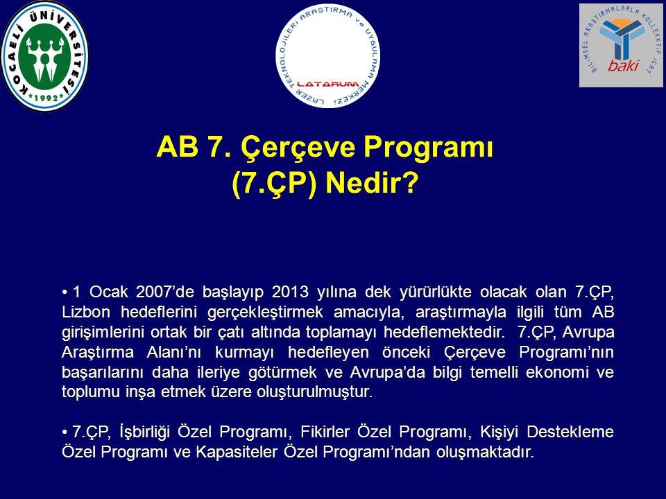1 Ocak 2007'de başlayıp 2013 yılına dek yürürlükte olacak olan 7.ÇP, Lizbon hedeflerini gerçekleştirmek amacıyla, araştırmayla ilgili tüm AB girişimle