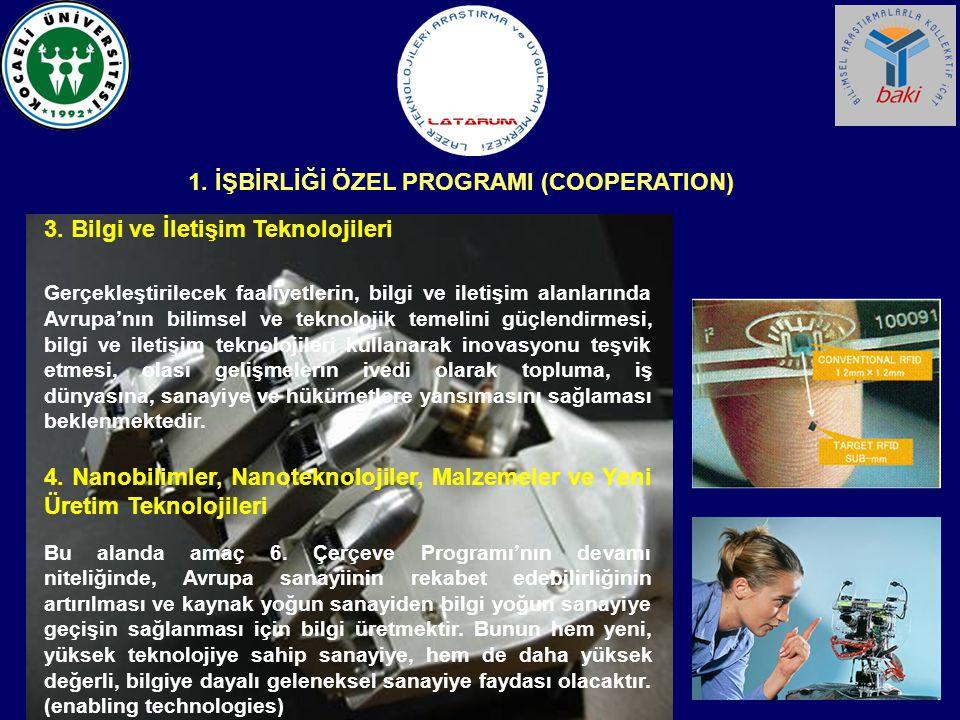 3. Bilgi ve İletişim Teknolojileri Gerçekleştirilecek faaliyetlerin, bilgi ve iletişim alanlarında Avrupa'nın bilimsel ve teknolojik temelini güçlendi